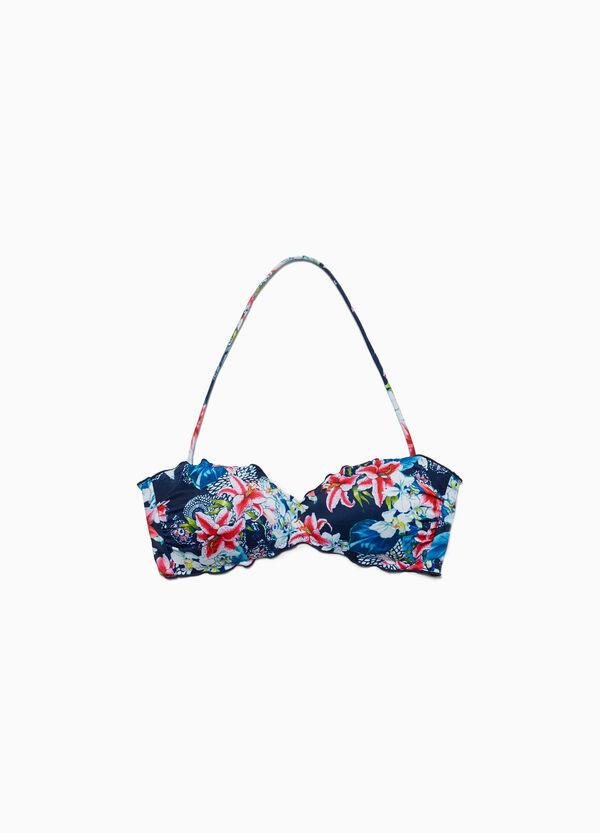 Bandeau-Bikini-Oberteil Blumen