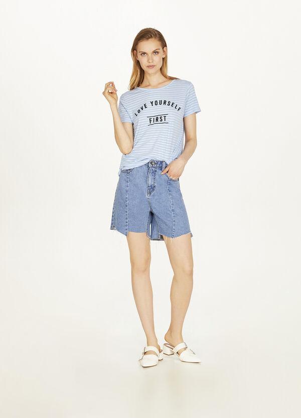 T-Shirt Baumwollmix Streifen und Lettering