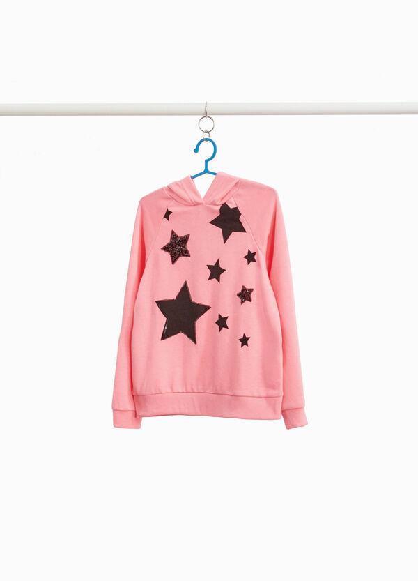 Sweatshirt Maxi-Aufdruck Sterne und Pailletten