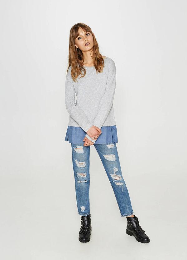 Sweatshirt reine Baumwolle mit aufgesetzter Doppelkante | OVS