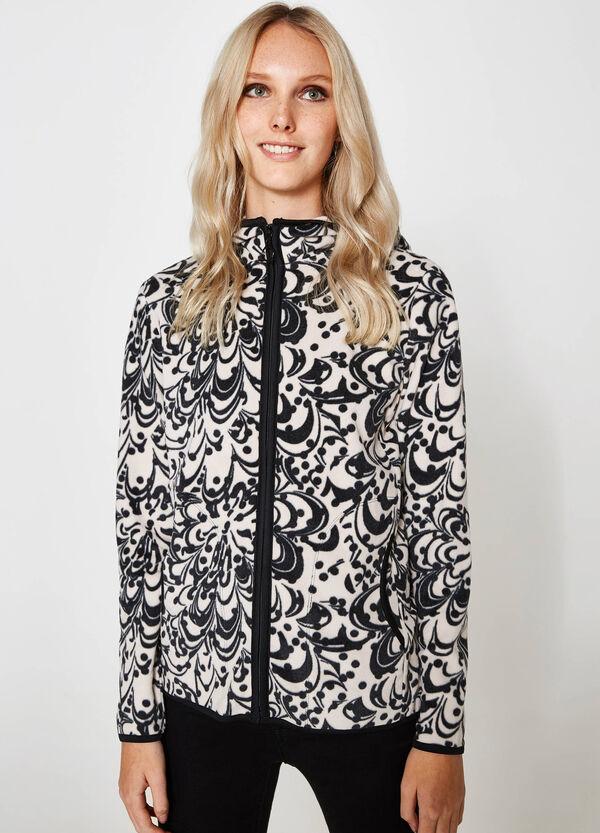Sweatshirt aus Fleece, gemustert mit Kapuze | OVS