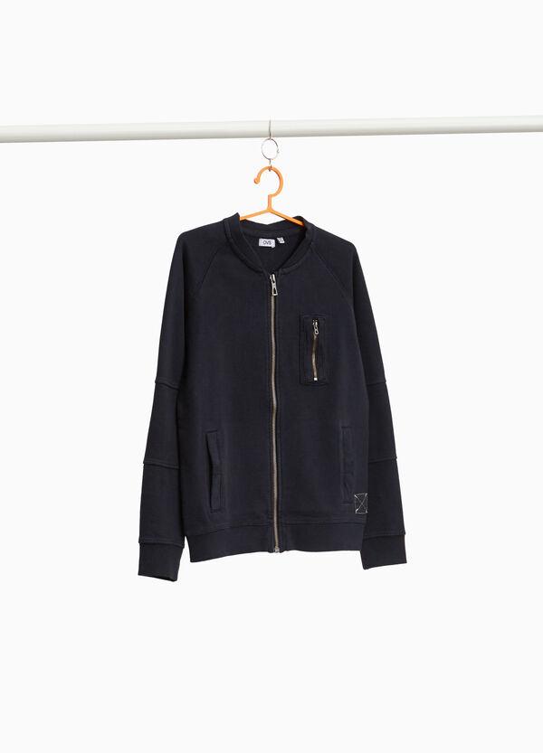 Sweatshirt reine Baumwolle mit Tasche und Zipper