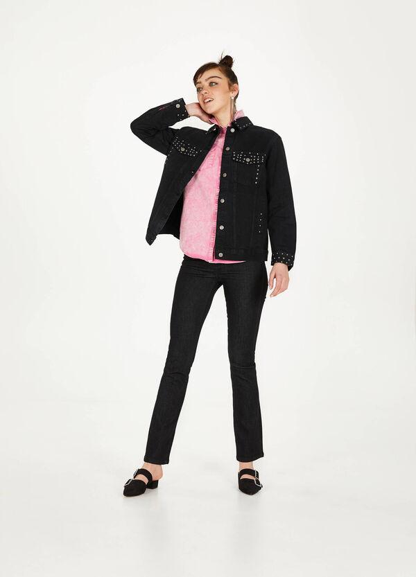 Jeans-Weste mit Strass