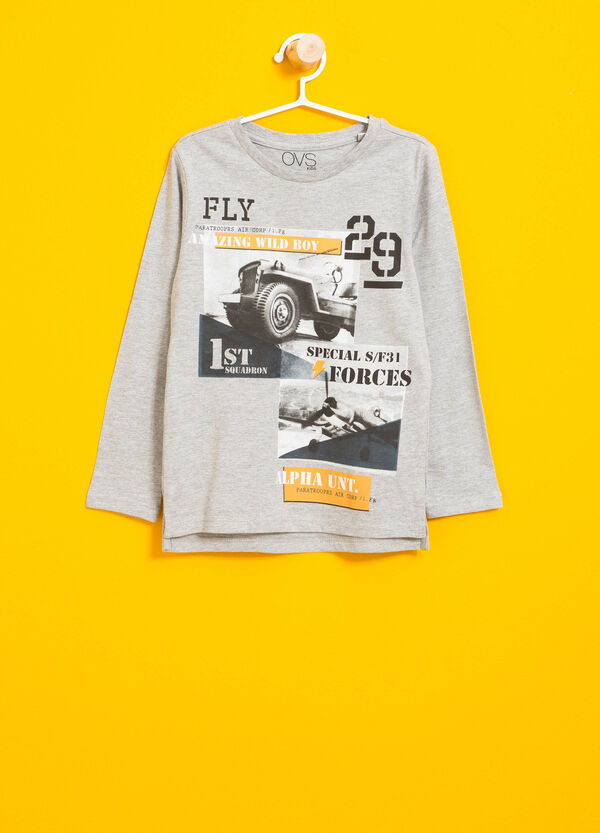 T-Shirt meliert aus reiner Baumwolle bedruckt | OVS