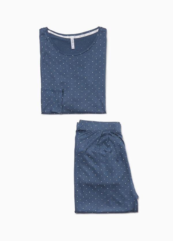 Pyjama reine Viskose Herzen und Tupfen