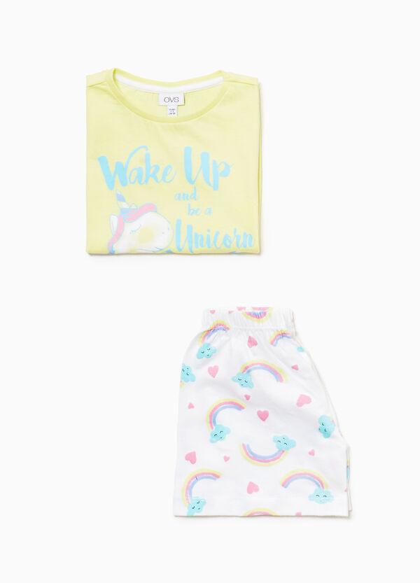 Pyjama Baumwolle Einhorn und Regenbogen