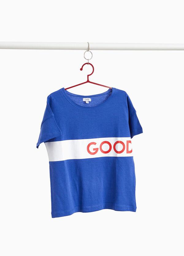 T-Shirt reine Baumwolle Streifen Lettering