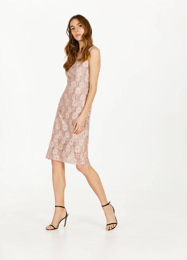 Ärmelloses Kleid aus Spitze mit V-Ausschnitt