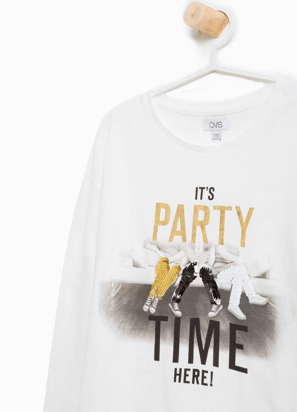 T-Shirt reine Baumwolle Aufdruck und Pailletten | OVS