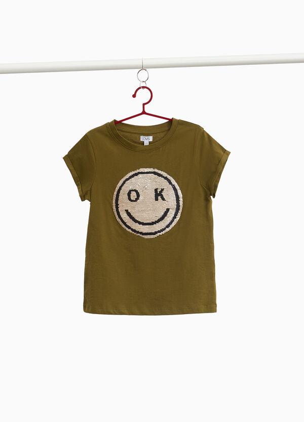 T-Shirt Baumwolle mit Pailletten Smile