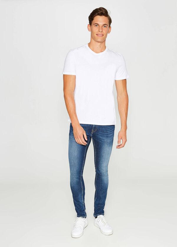 Stretch-Jeans Slim Fit Used-Effekt entfärbte Optik | OVS