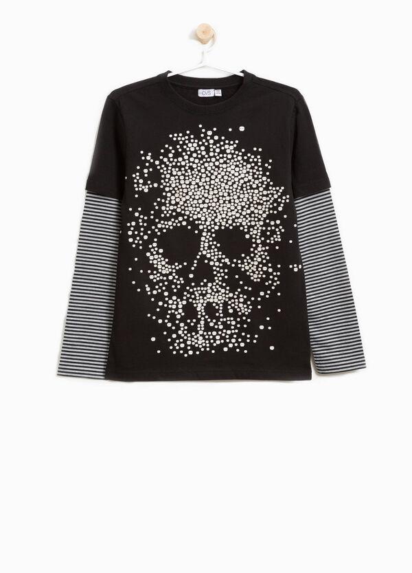 T-Shirt Baumwolle Aufdruck und Muster mit Streifen | OVS