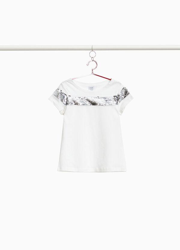 T-Shirt mit Pailletten-Streifen