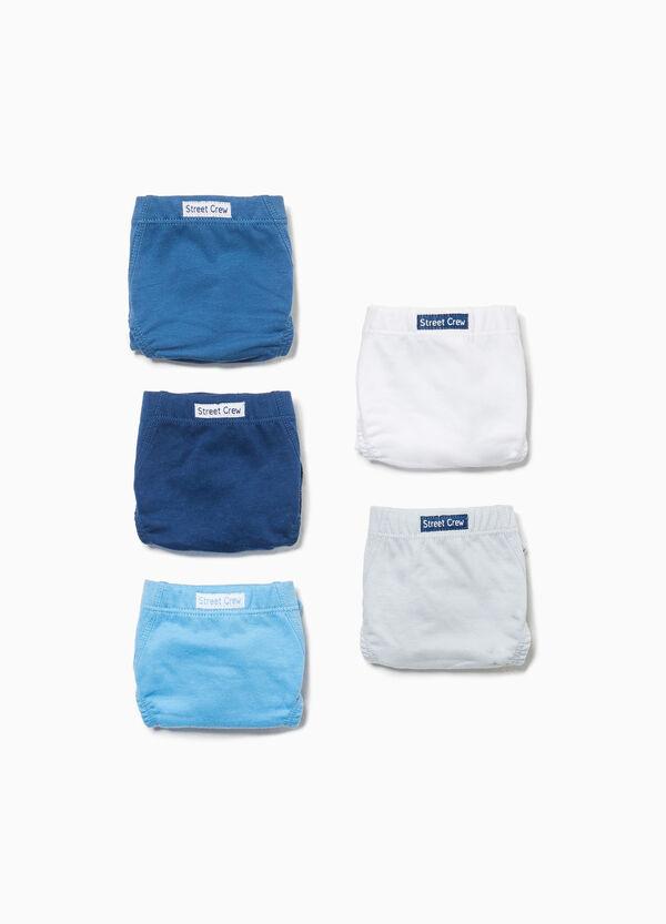 Set fünf Slips reine Baumwolle mit Patch