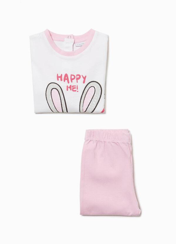 Pyjama reine Baumwolle Aufdruck Häschen