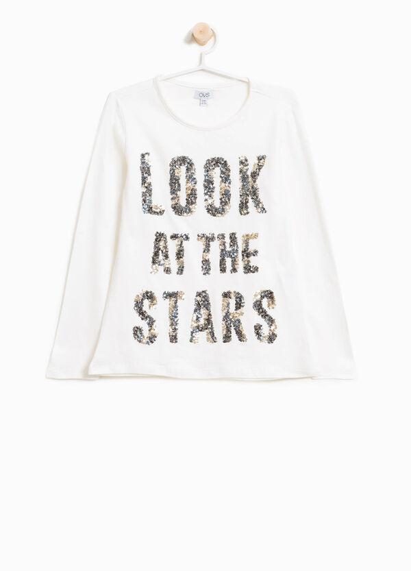 T-Shirt aus Baumwolle mit Buchstaben-Pailletten-Applikation | OVS
