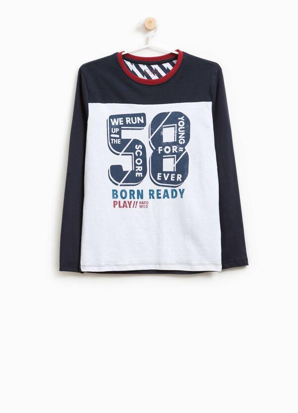T-Shirt reine Baumwolle zweifarbig Aufdruck | OVS