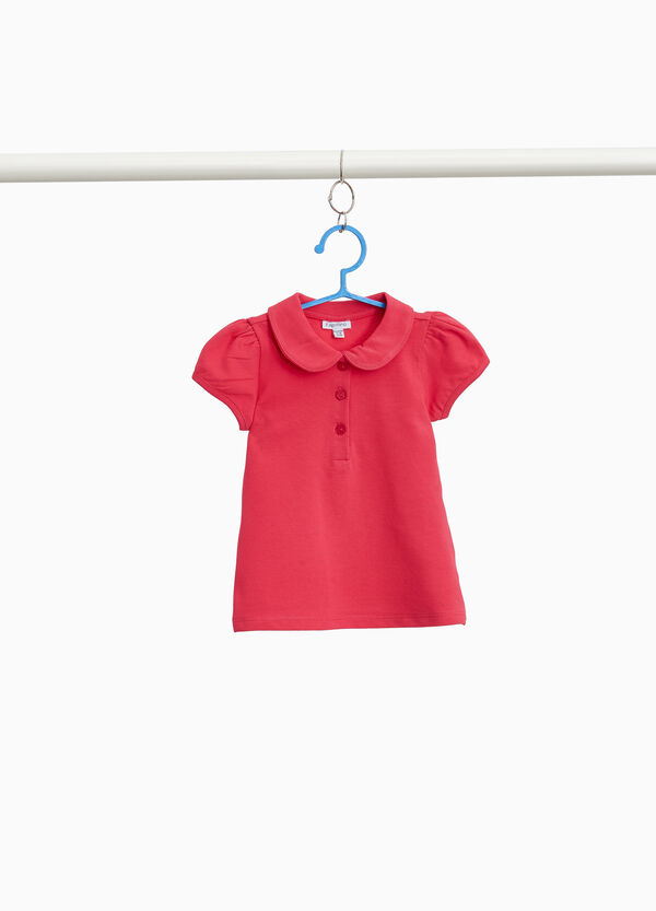 Polo-Shirt Baumwollstretch Puffärmel