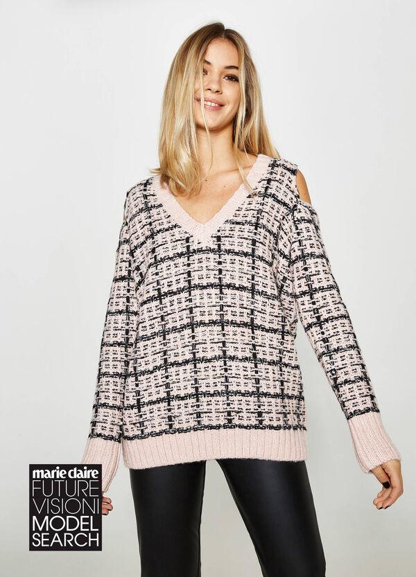 Zweifarbiger Pullover mit V-Ausschnitt und Öffnungen | OVS