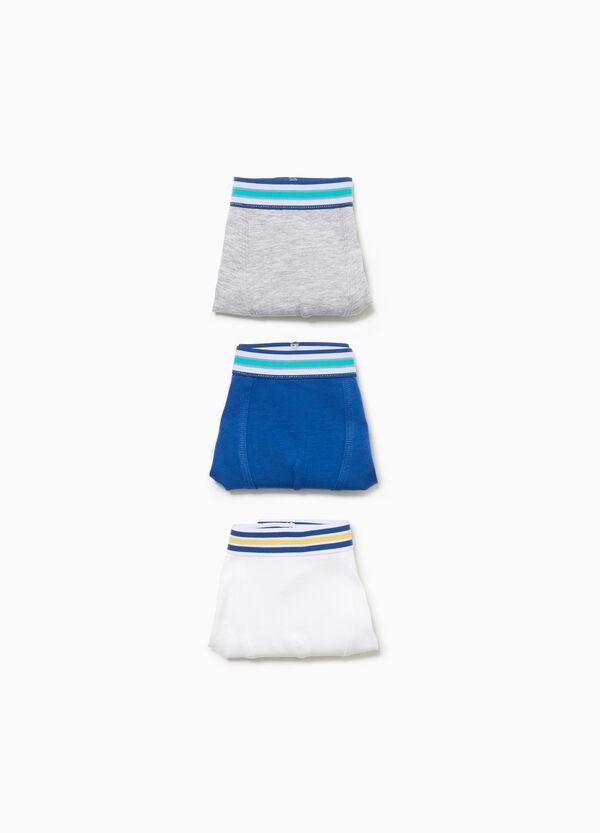Set drei Stretch-Boxershorts mit gestreiftem Bund