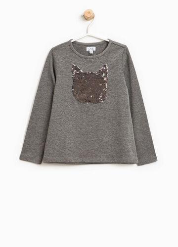 T-Shirt mit Pailletten in Katzenform