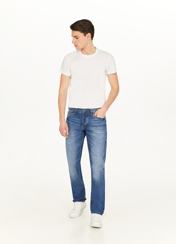 Jeans Regular Fit mit Used-Effekt