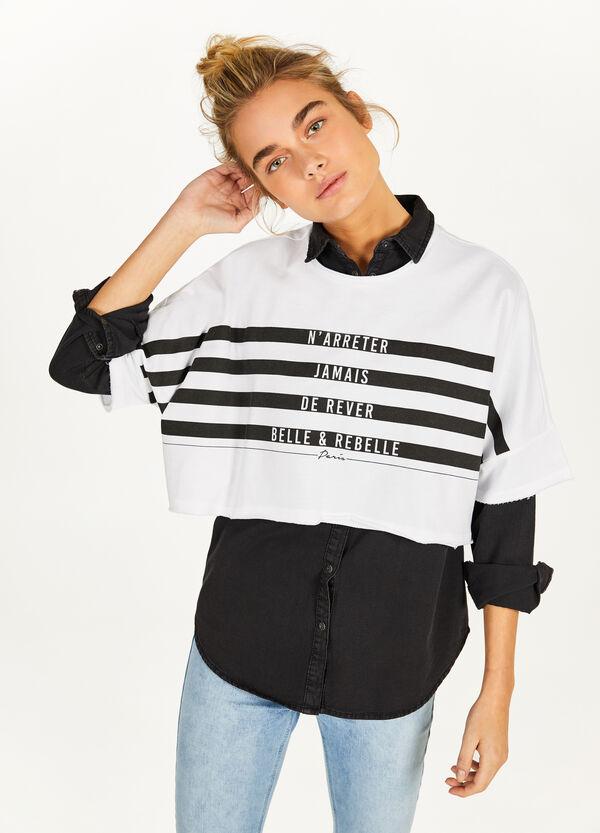 Crop-Sweatshirt reine Baumwolle Buchstabenaufdruck