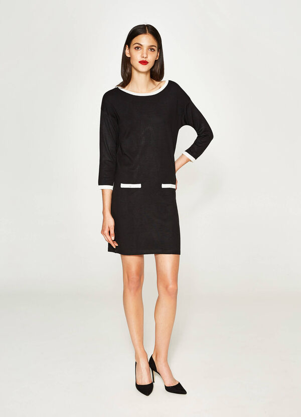 Kleid aus Viskose-Mix mit Feinripp | OVS