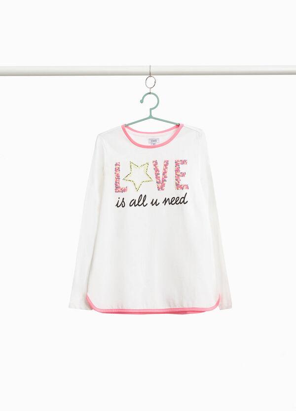 T-Shirt reine Baumwolle Buchstabenaufdruck