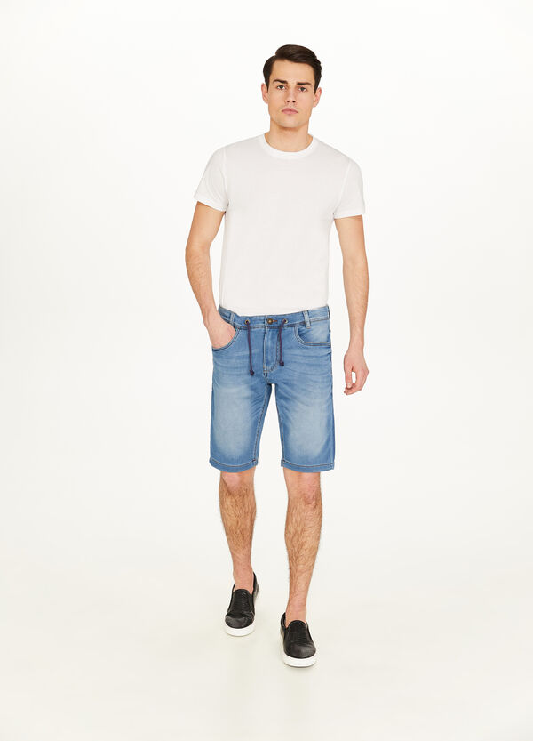 Jeans-Bermuda Slim Fit Stretch Used-Effekt