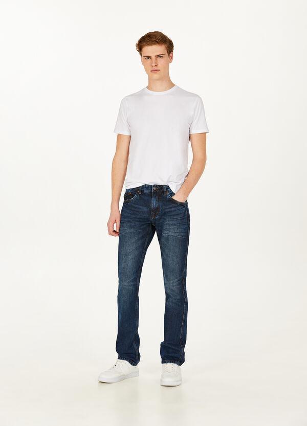 Jeans Regular Fit mit Used-Effekt und entfärbter Optik
