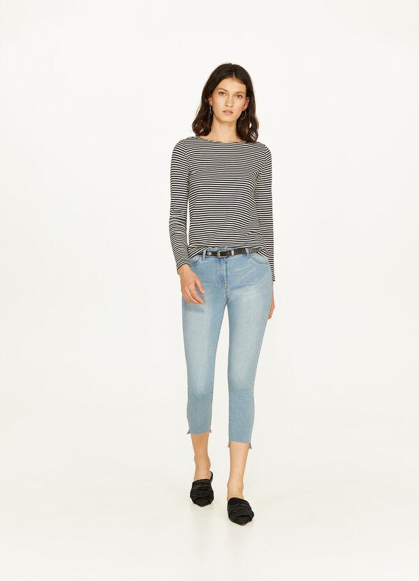 Crop-Jeans Skinny Fit mit Washed out-Effekt