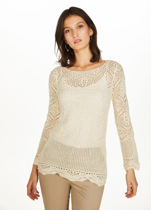 Pullover aus reiner Baumwolle Lochmuster