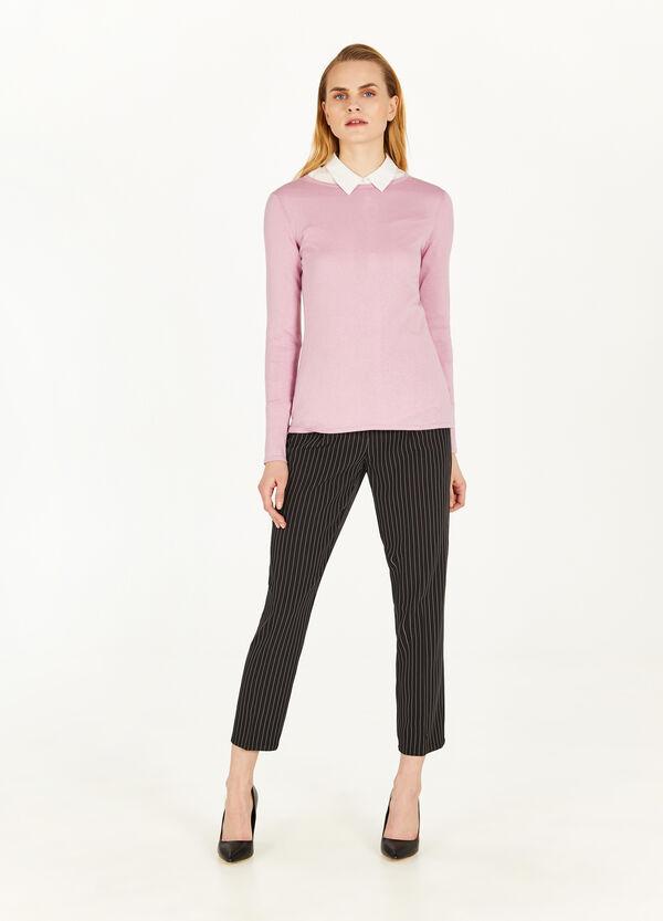 Einfarbiges T-Shirt aus Seide und Baumwolle