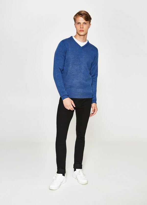 Trikot-Pullover mit V-Ausschnitt
