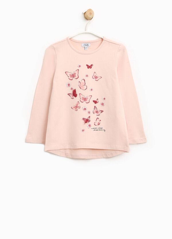T-Shirt aus Baumwollstretch mit Aufdruck Schmetterlinge   OVS