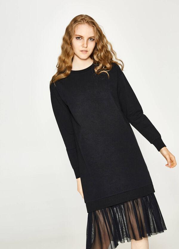 Kleid aus Baumwollstretch mit Tüll | OVS