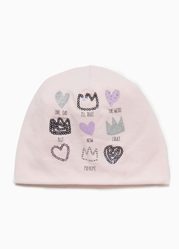 Mütze aus Jersey Herzen und Kronen
