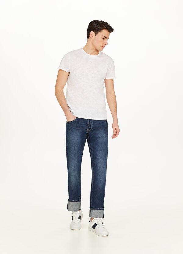 Jeans Regular Fit mit Used-Effekt und Aufschlag