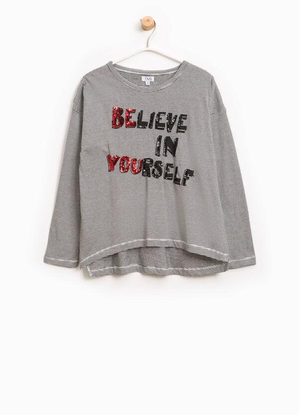 Gestreiftes T-Shirt aus Baumwolle mit Pailletten | OVS