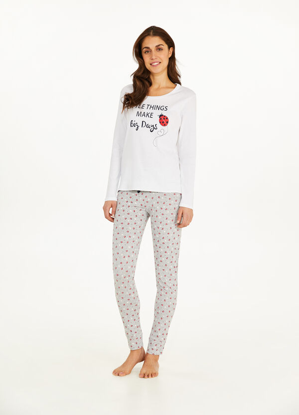Pyjama Muster Marienkäfer und Blumen