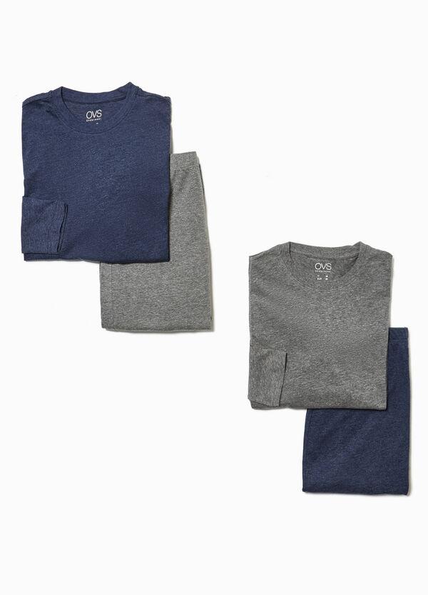 Set, bestehend aus zwei Pyjamas aus Baumwoll-Mix