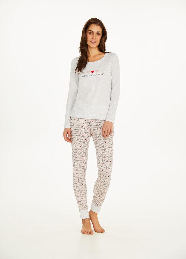 Pyjama Baumwolle Muster Lettering