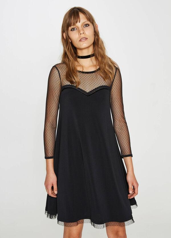 Stretch-Kleid mit Tüll gesteppt | OVS