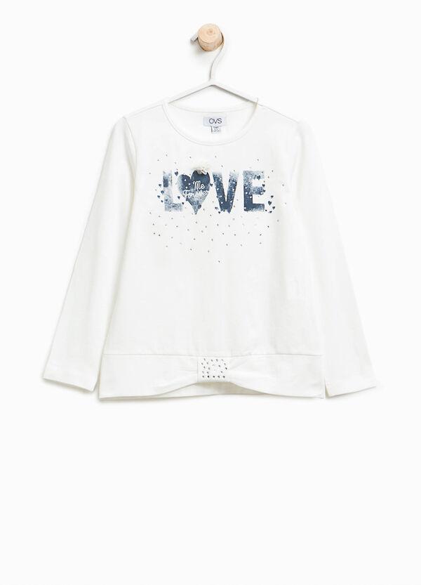 T-Shirt aus Baumwolle mit Aufdruck und Strassbesatz   OVS