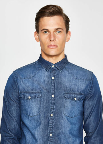 Casual-Jeans-Hemd mit Washed-out-Effekt
