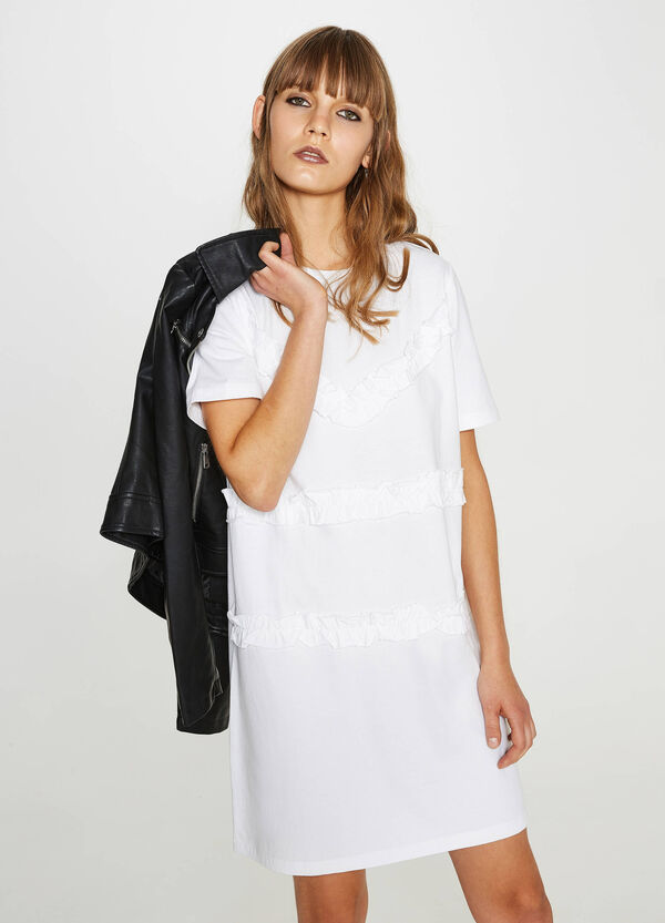 Kleid aus reiner Baumwolle mit Volant | OVS