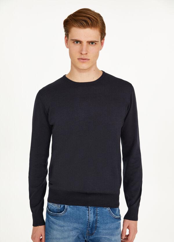 Einfarbiger Pullover aus reiner Baumwolle