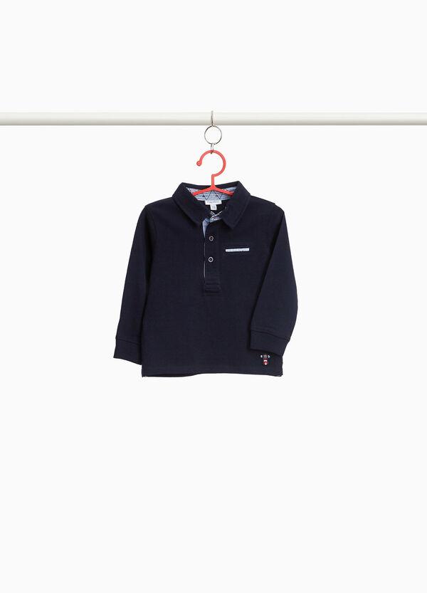 Polo-Shirt reine Baumwolle mit Streifeneinsätzen
