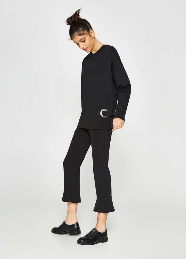 Pullover aus Baumwolle mit seitlichen Schnürbändern   OVS